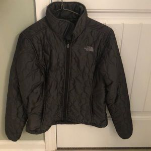 North Face women's down charcoal jacket